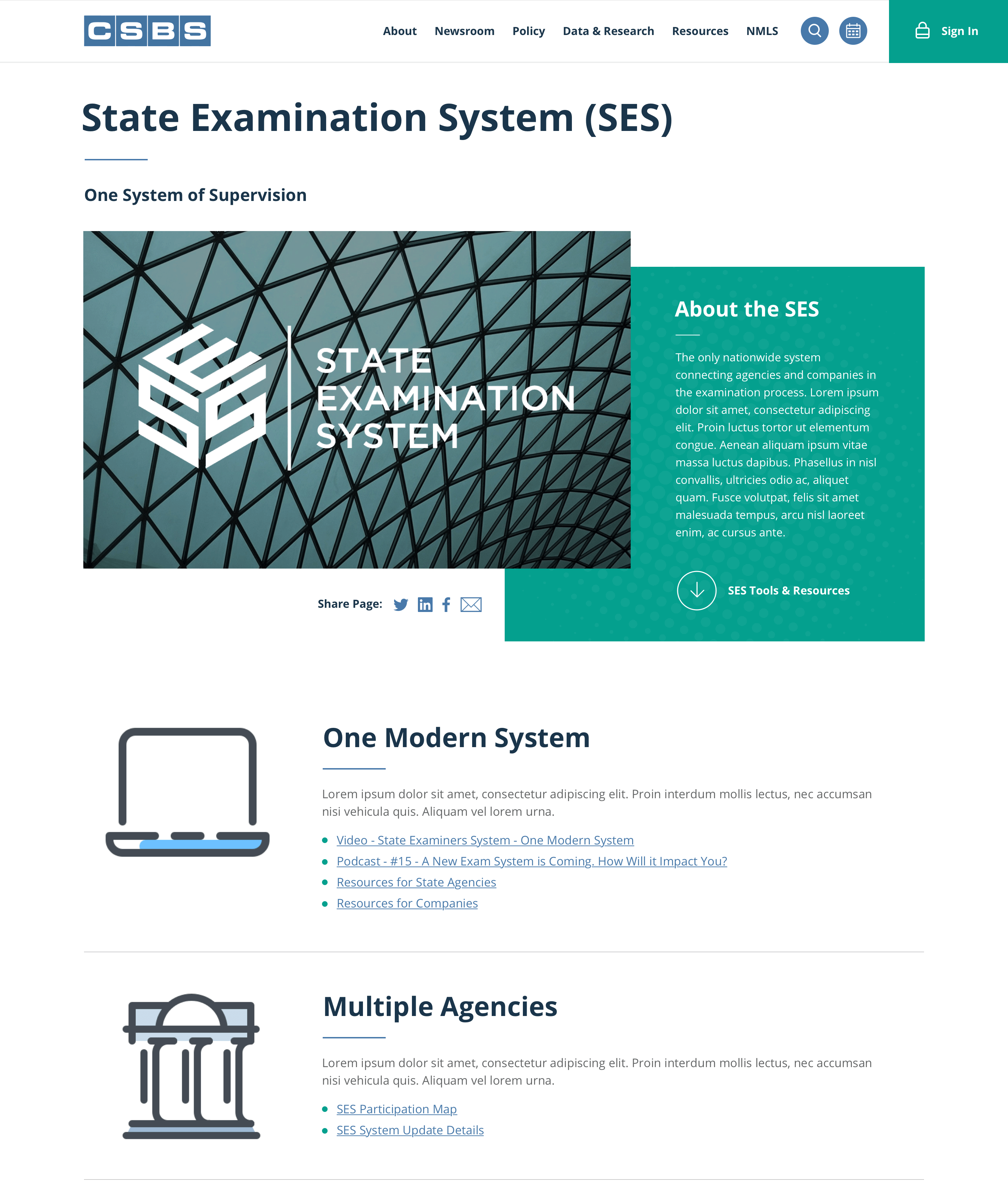 Interior content page screenshot of the CSBS State Examination System (SES) page design